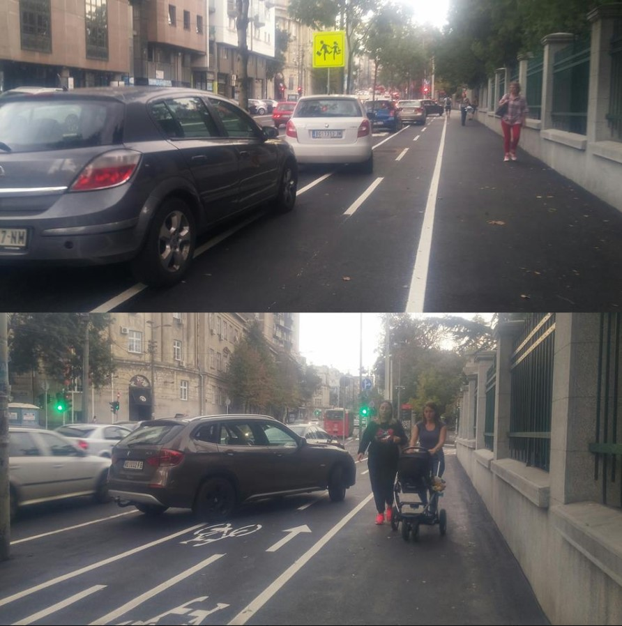 Failed urban-planning Reconstructed Takovska street pedestrians bicycle belgrade