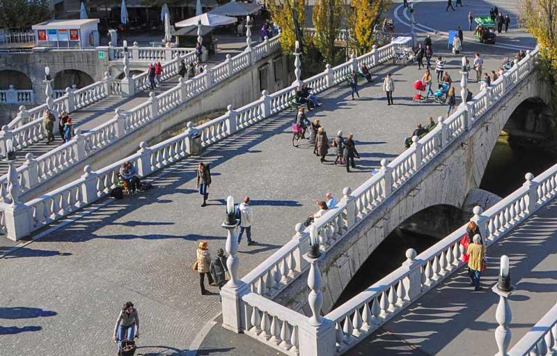 Pešačka zona u centru Ljubljane je raj za pešake i bicikliste