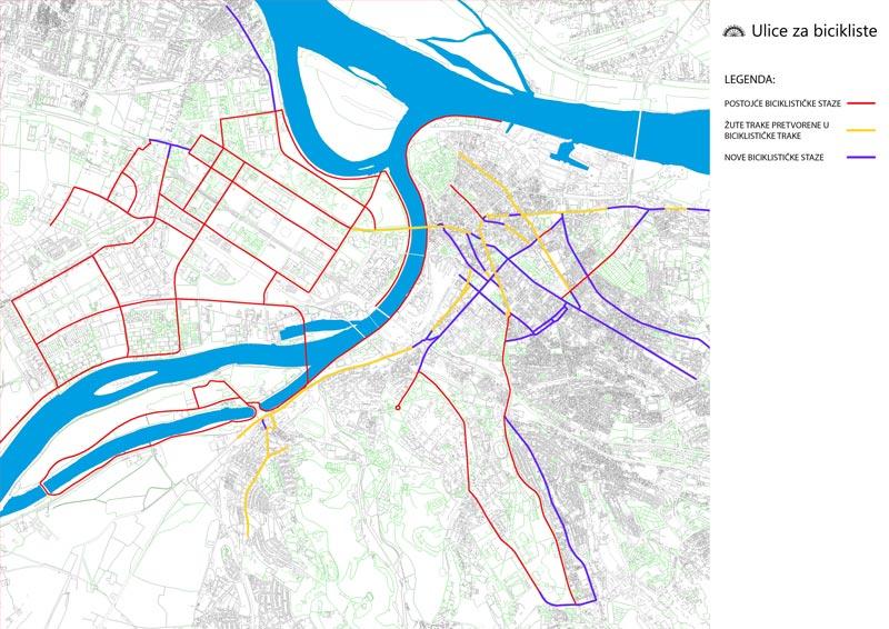 mapa-biciklističke-trake-žute-trake-beograd